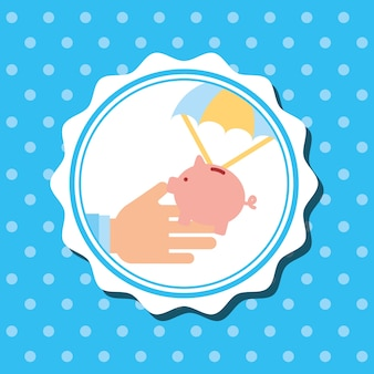 Badge hand holding piggy bank in parachute