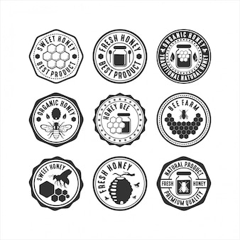 Badge honey bee logo collection