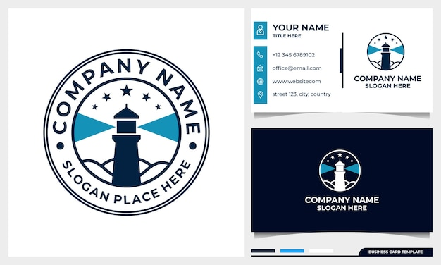 Badge lighthouse logo design with business card template