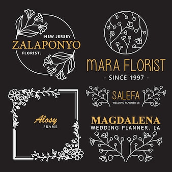 Badge and logo hand drawn flower template