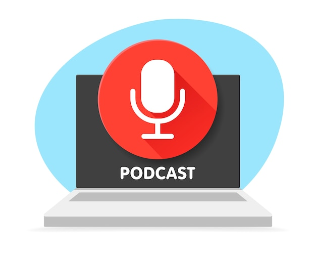 Badge microphone for podcast and laptop computer.   illustrations. radio microphone. digital content. podcast symbol that can be used for any platform and purpose.
