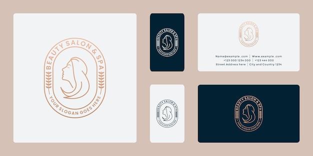 Значок салона дизайн логотипа красоты женщин с комбинацией стрижки