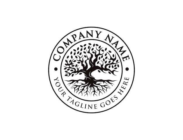 Значок, печать, эмблема старинный логотип древо жизни, старый логотип дуба, старое большое дерево с корневым логотипом