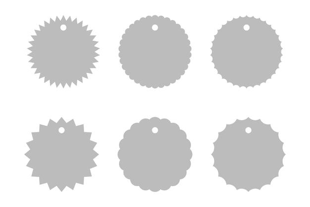 シンプルなバースト形状のバッジセット、孤立したグラフィックベクトルバッジ値札ラベルコレクション。