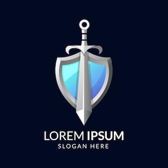 Badge shape sword and shield logo colorful