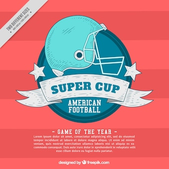 Badge sketch background with football helmet