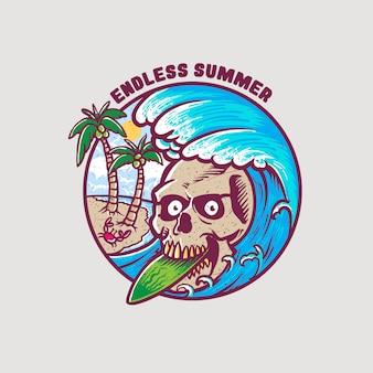 배지 해골 디자인 끝없는 여름