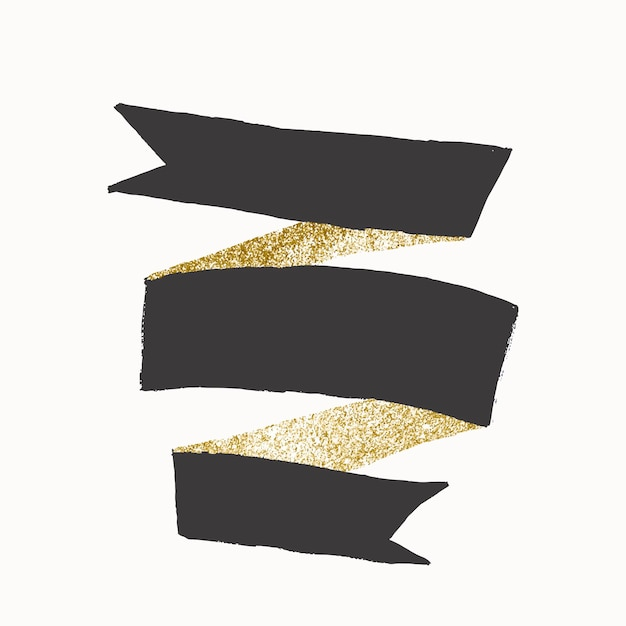 Badge sticker vector, glitter gold and gray, decorative banner design