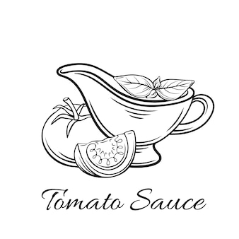 Badge tomato sauce. logo food product, emblem in old style.