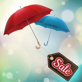 Badge umbrella, hello autumn background