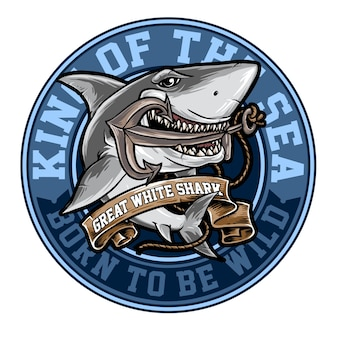 Badge of white shark with anchor illustration