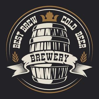 Badge with a barrel beer for a dark background.