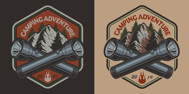 Badge with a mountain, flashlight  in vintage style on the camping theme. perfect for t-shirt . layered