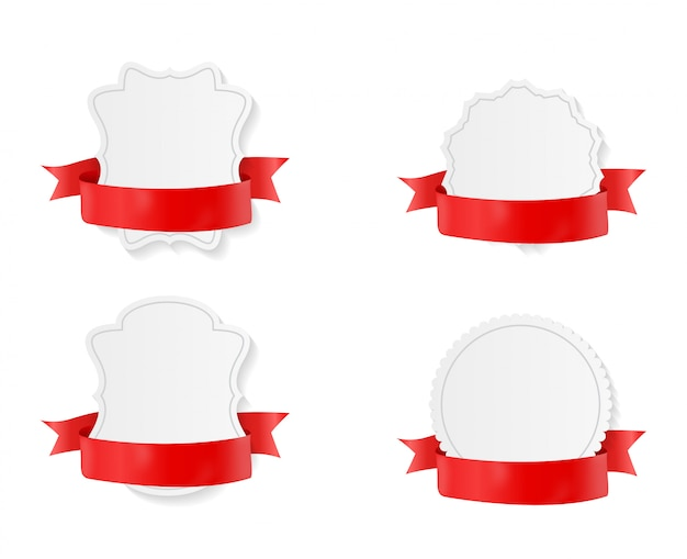 Badge with red ribbon and bow set.