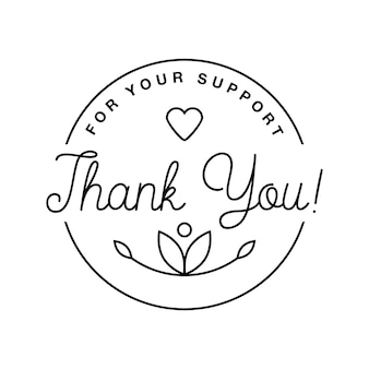 Badge with thank you graphics and design elements vector label and logo for gratitude, branding, advertisement.