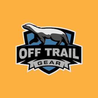 Badger adventure animal shield emblem badge logo template