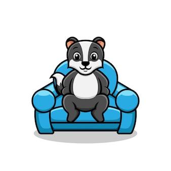 ソファの椅子の漫画イラストのアナグマ