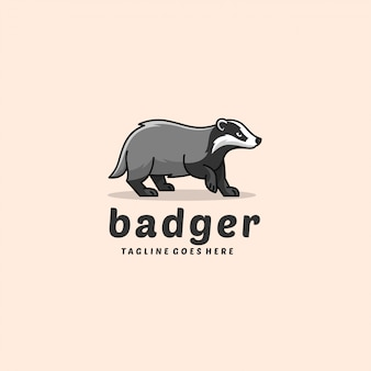 Badger walking mascot illustration vector logo.