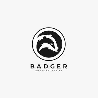 Badger with circle illustration vector logo.