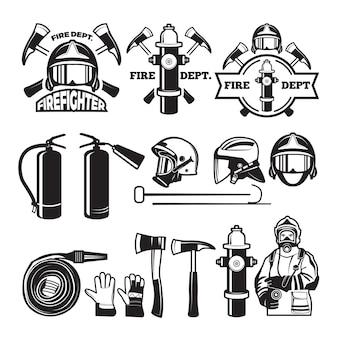 消防署用に設定されたバッジとラベル。消防士と消防署のエンブレム、イラスト