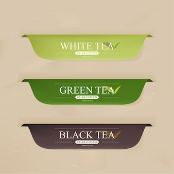 Badges or banner with tea drink menu.