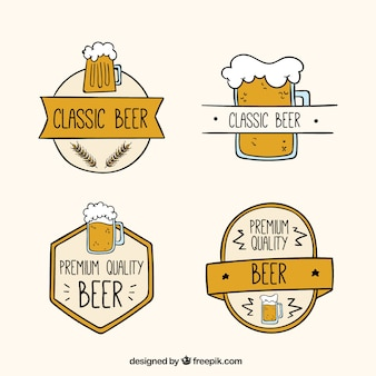 Badges of beers in flat design