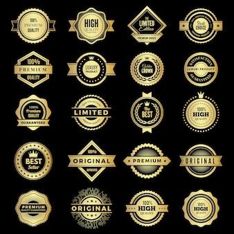 배지 컬렉션입니다. 프리미엄 프로모션 고품질 로고 또는 배지 보증 스탬프 벡터 모양. 배지 레이블 프리미엄, 보증 및 최고의 상징 그림