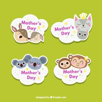 어머니의 날 귀여운 동물과 배지 컬렉션