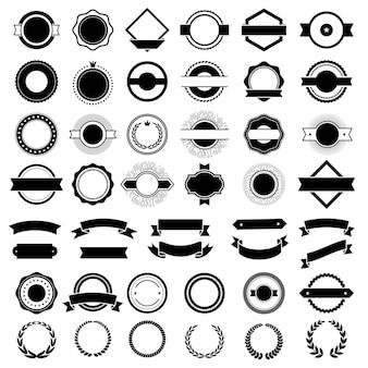 배지. 프리미엄 로고 또는 배지 장식용 생성 키트 프리미엄 요소는 리본 벡터 힙스터 컬렉션을 보호합니다. 일러스트 라벨 및 배지, 그래픽 스티커 프리미엄
