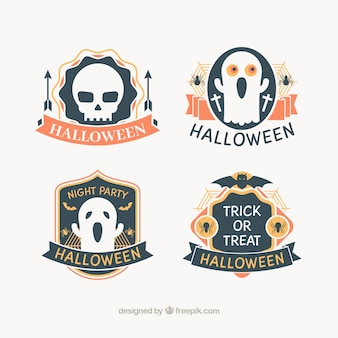 Badges for halloween in grey, orange, and yellow