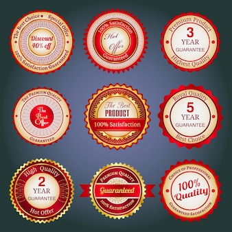 Badges, labels and stickers with various inscriptions on retail. designed in red colors.