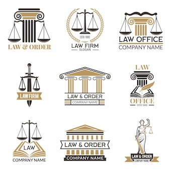 Badges of law and legal, hammer of judge, legal code black setof labels for jurisprudence, legal notes