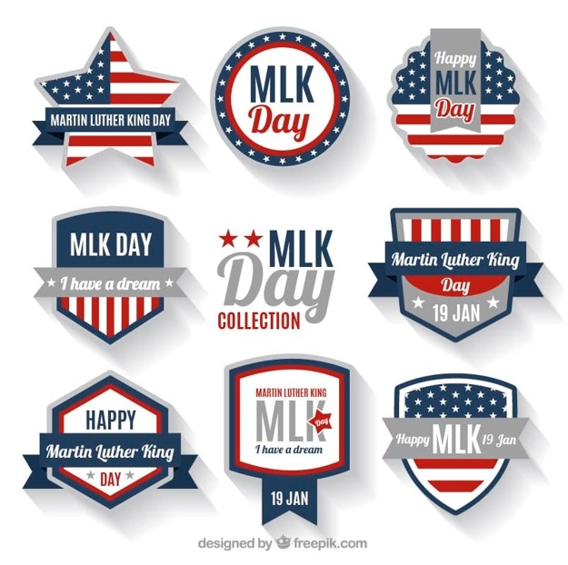 Badges for martin luther king day with fantastic designs