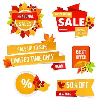 Значки осенних распродаж. различные наклейки или этикетки осенних распродаж