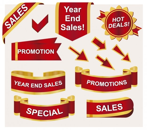 Badges and ribbons for sales