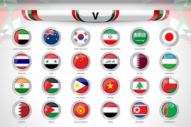 Badges set of national team for asian soccer cup