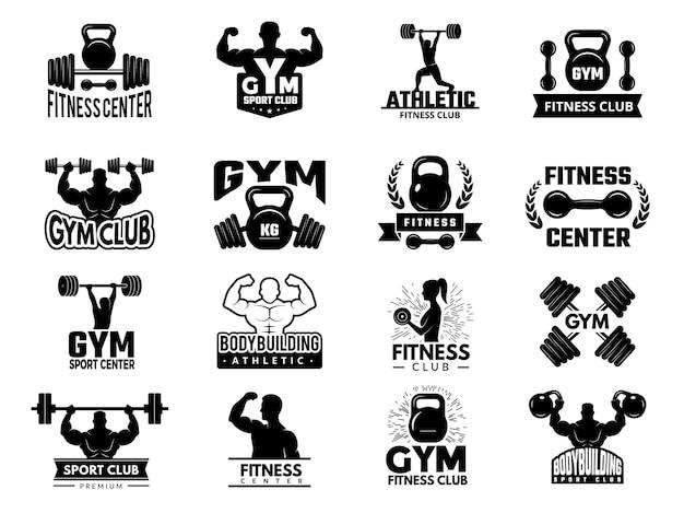 バッジスポーツ。フィットネスアスレチックジムのロゴタイプセット。フィットネスジムのエンブレム、ボディービルのトレーニングバッジのイラスト