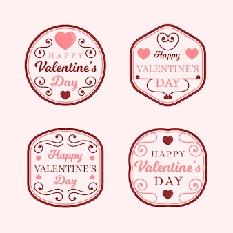 Badges for valentine's day collection with fancy lines