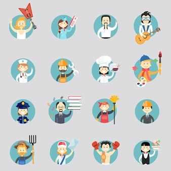 Badges with avatars of different professions with musicians  martial arts  doctor  construction worker  chef  artist  policewoman  professor  cleaner  architect  farmer  postman and waitress