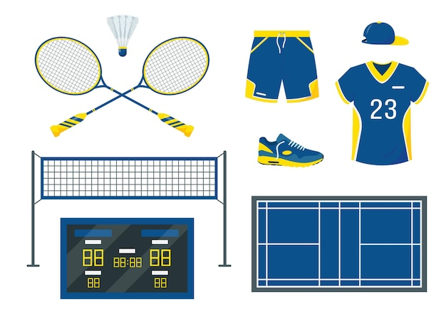 Badminton equipment and accessories set isolated on white