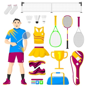Badminton icons set