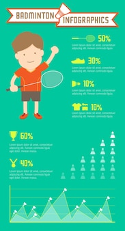 Бадминтон инфографика человека на зеленом фоне