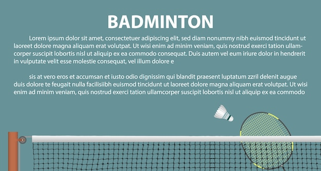 Badminton layout template for brochure or pages.
