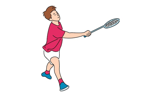 Badminton male player action with racket
