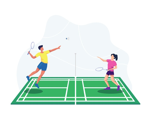 Badminton player jumping get ready to smash shot, man and woman badminton player. people playing badminton with shuttle on court.  in a flat style