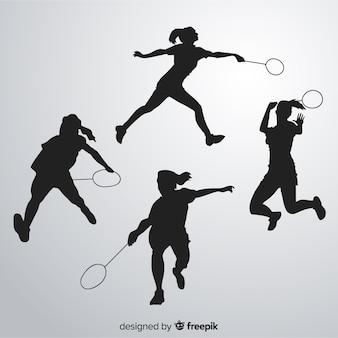 Badminton player silhouette collectio