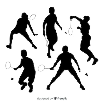 Badminton player silhouette collection