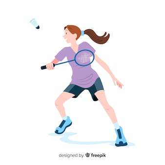 Badminton player with racket and feather
