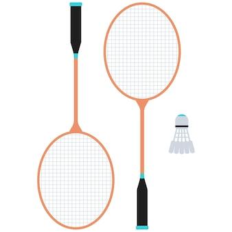 Ракетка для бадминтона и иллюстрация мяча, изолированные на белом фоне.