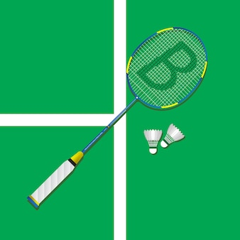 Badminton rackets flat square icon with shadows.